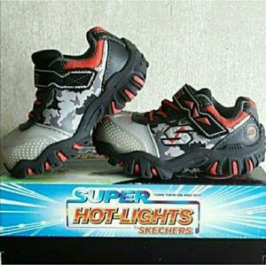 Skechers Boy's red gray black light up shoes 7c